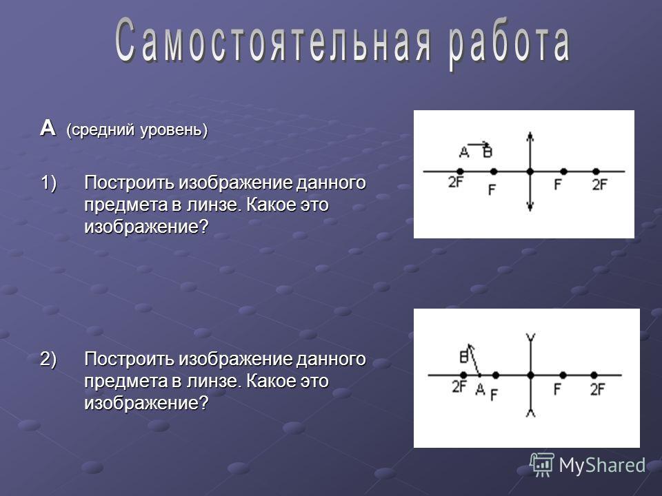 А (средний уровень) 1)Построить изображение данного предмета в линзе. Какое это изображение? 2)Построить изображение данного предмета в линзе. Какое это изображение?