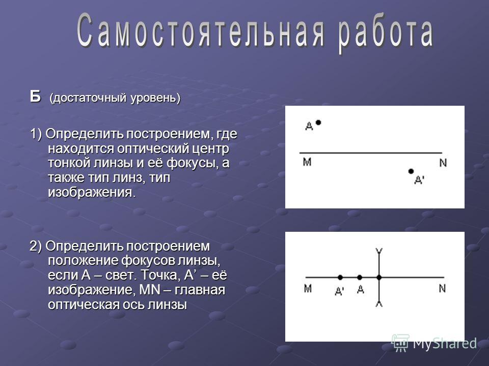 Б (достаточный уровень) 1) Определить построением, где находится оптический центр тонкой линзы и её фокусы, а также тип линз, тип изображения. 2) Определить построением положение фокусов линзы, если А – свет. Точка, А – её изображение, MN – главная о
