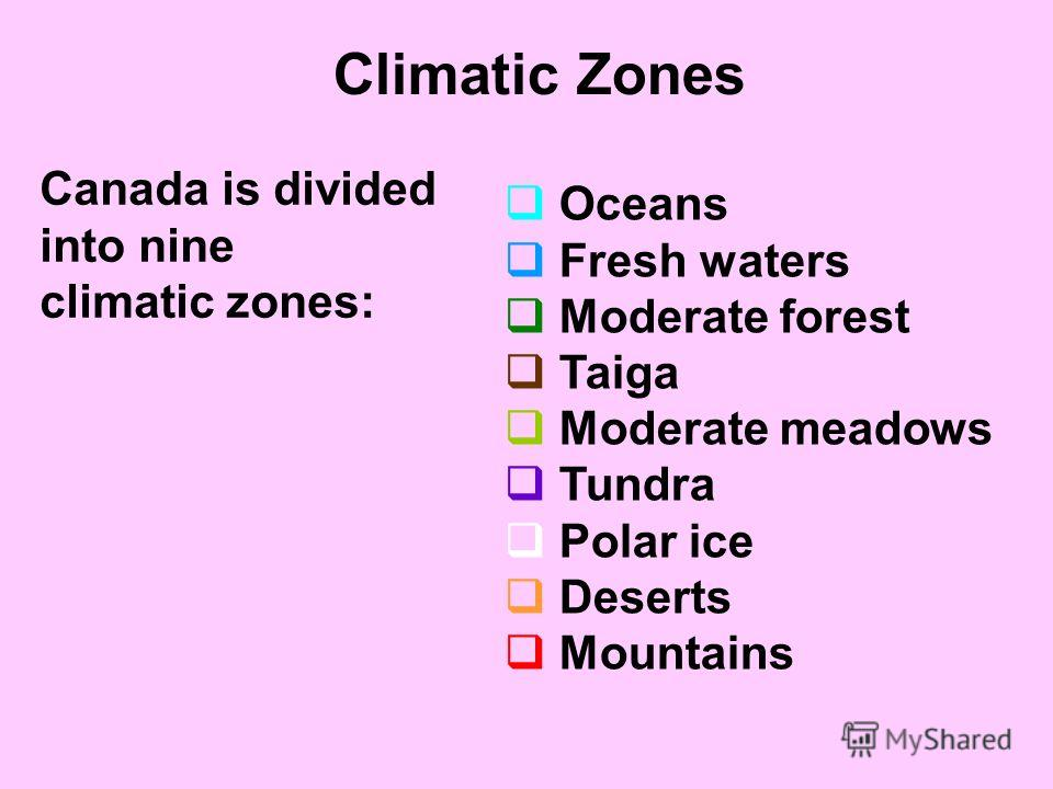 Climatic Zones Oceans Fresh waters Moderate forest Taiga Moderate meadows Tundra Polar ice Deserts Mountains Canada is divided into nine climatic zones: