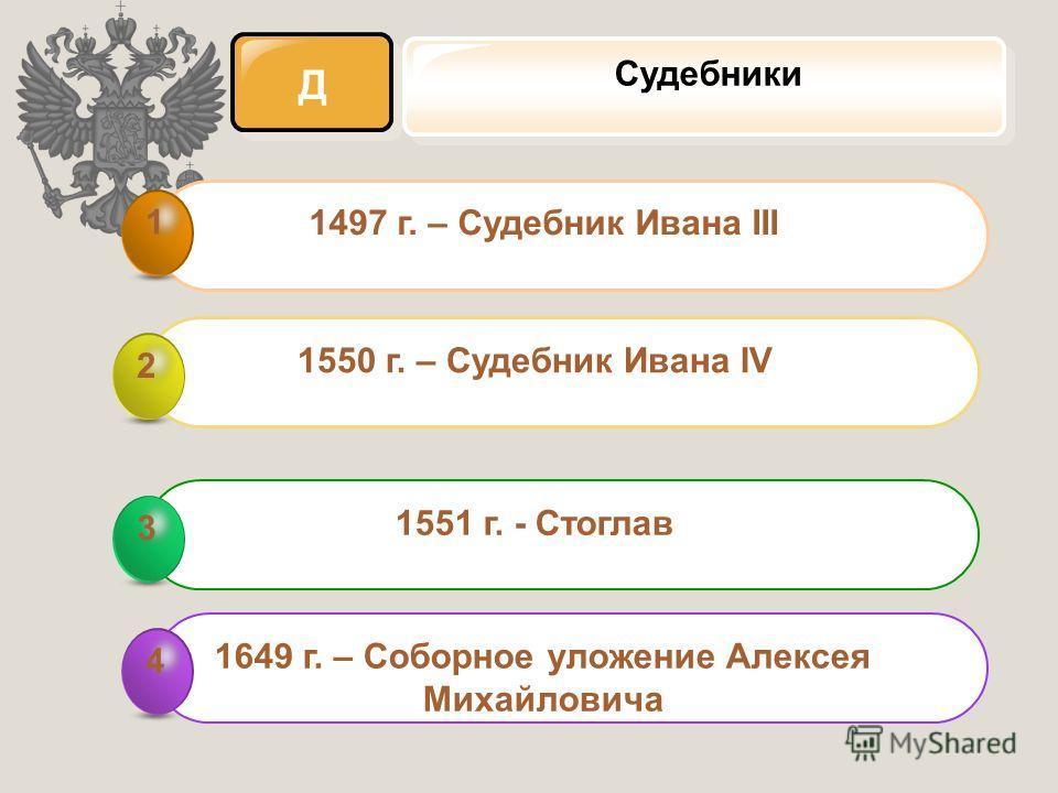 Д Судебники 1497 г. – Судебник Ивана III 1 1550 г. – Судебник Ивана IV 2 1551 г. - Стоглав 3 3 1649 г. – Соборное уложение Алексея Михайловича 4 4