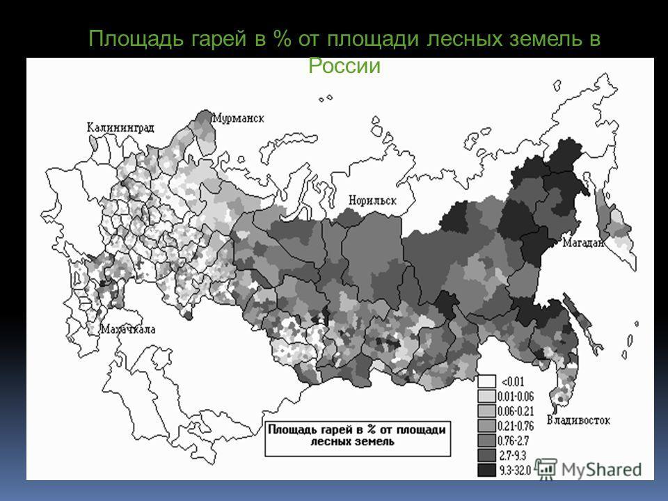 Площадь гарей в % от площади лесных земель в России