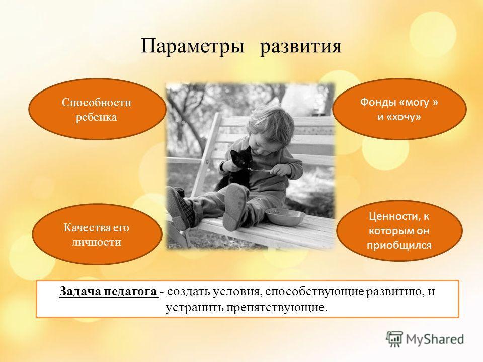 Параметры развития Способности ребенка Качества его личности Ценности, к которым он приобщился Фонды «могу » и «хочу» Задача педагога - создать условия, способствующие развитию, и устранить препятствующие.