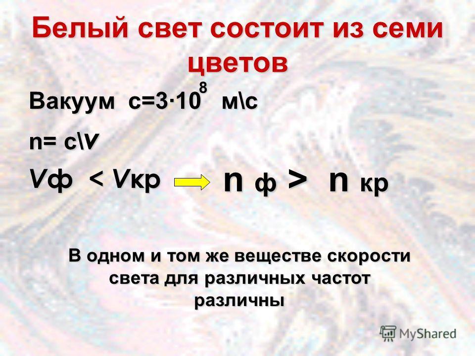 Белый свет состоит из семи цветов Вакуум с=3·10 м\с n= c\ v V ф < V кр 8 n ф > n кр В одном и том же веществе скорости света для различных частот различны