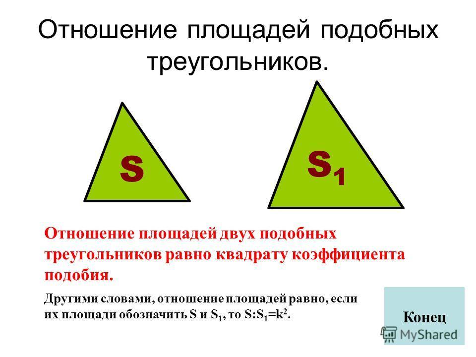 Отношение площадей подобных треугольников. Отношение площадей двух подобных треугольников равно квадрату коэффициента подобия. Другими словами, отношение площадей равно, если их площади обозначить S и S 1, то S:S 1 =k 2. S S1S1 Конец