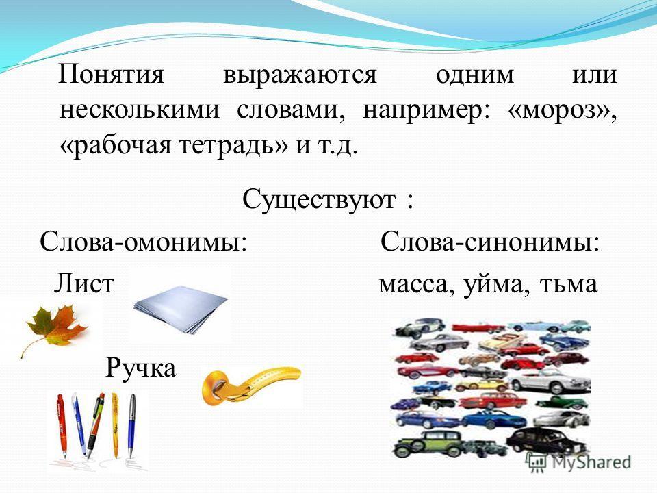 Понятия выражаются одним или несколькими словами, например: «мороз», «рабочая тетрадь» и т.д. Существуют : Слова-омонимы: Слова-синонимы: Лист масса, уйма, тьма Ручка