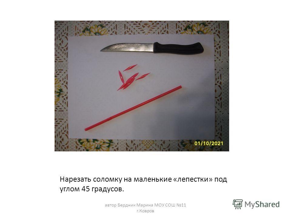 Нарезать соломку на маленькие «лепестки» под углом 45 градусов. автор Бердник Марина МОУ СОШ 11 г.Ковров