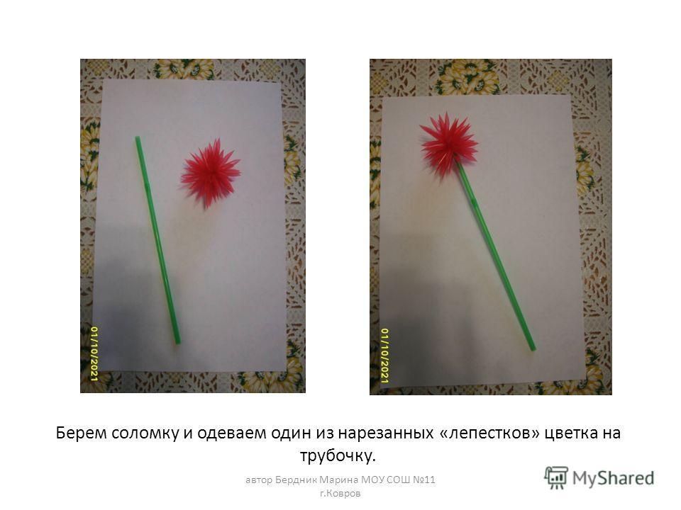 Берем соломку и одеваем один из нарезанных «лепестков» цветка на трубочку. автор Бердник Марина МОУ СОШ 11 г.Ковров