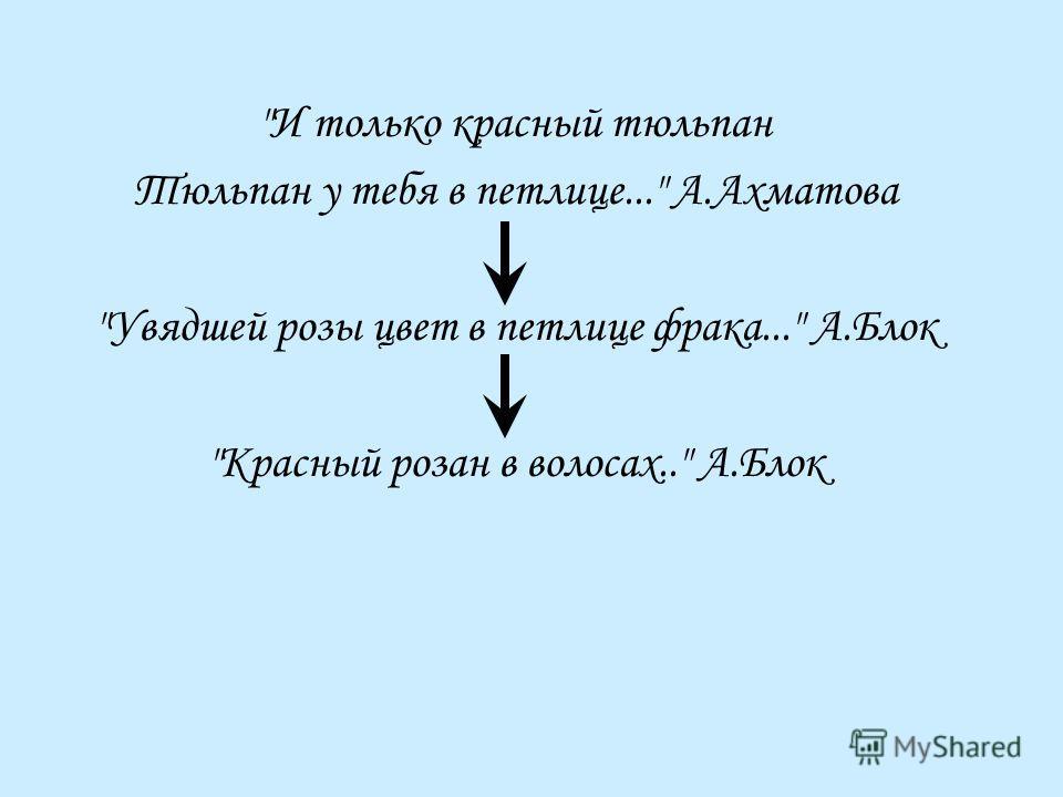 «О, как ты к р а с и в, п р о к л я т ы й» А.Ахматова «Все проклятья своей к р а с о ты» А.Блок «К р а с о т а с т р а ш н а, В а м с к а ж у т...» А.Блок