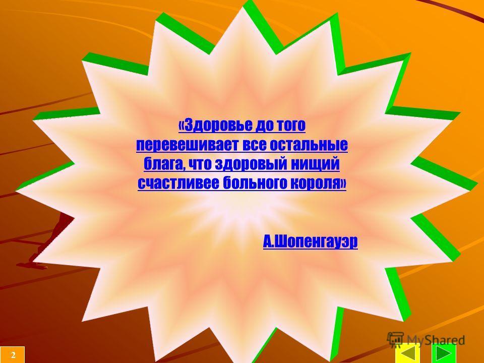 «Здоровье до того перевешивает все остальные блага, что здоровый нищий счастливее больного короля» А.Шопенгауэр 2