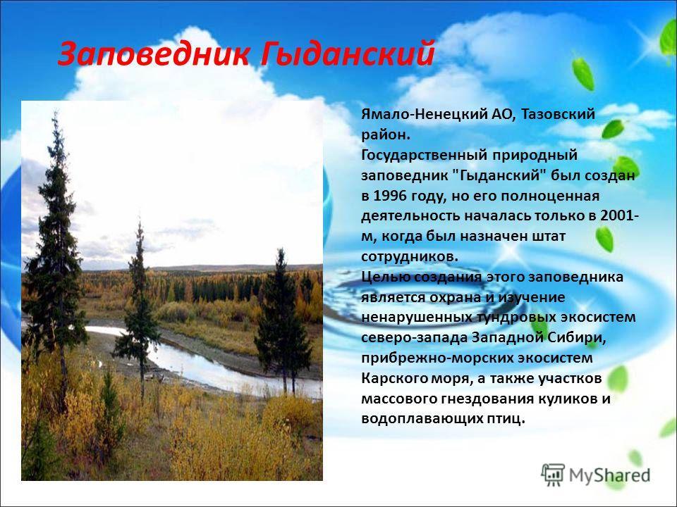 Заповедник Гыданский Ямало-Ненецкий АО, Тазовский район. Государственный природный заповедник
