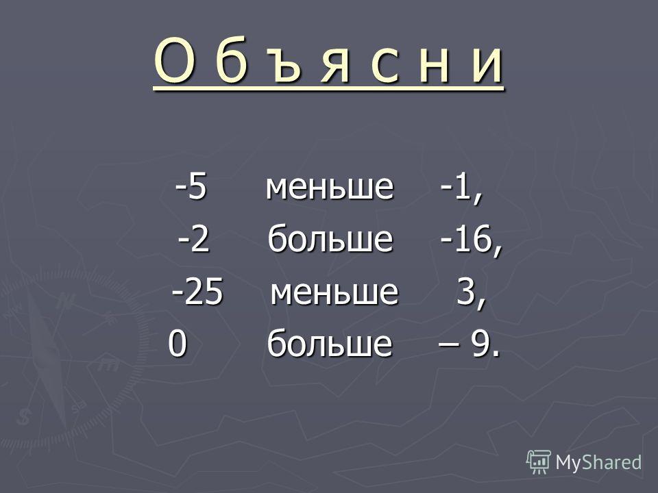 О б ъ я с н и -5 меньше -1, -2 больше -16, -2 больше -16, -25 меньше 3, 0 больше – 9. 0 больше – 9.