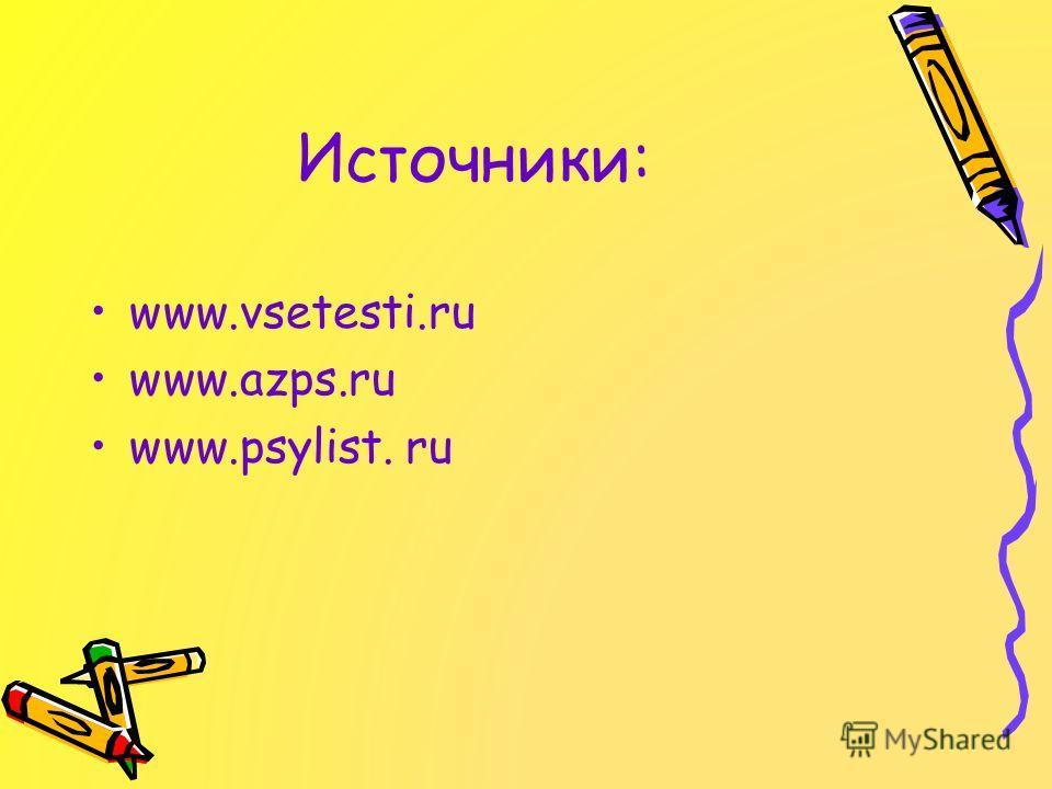 Источники: www.vsetesti.ru www.azps.ru www.psylist. ru