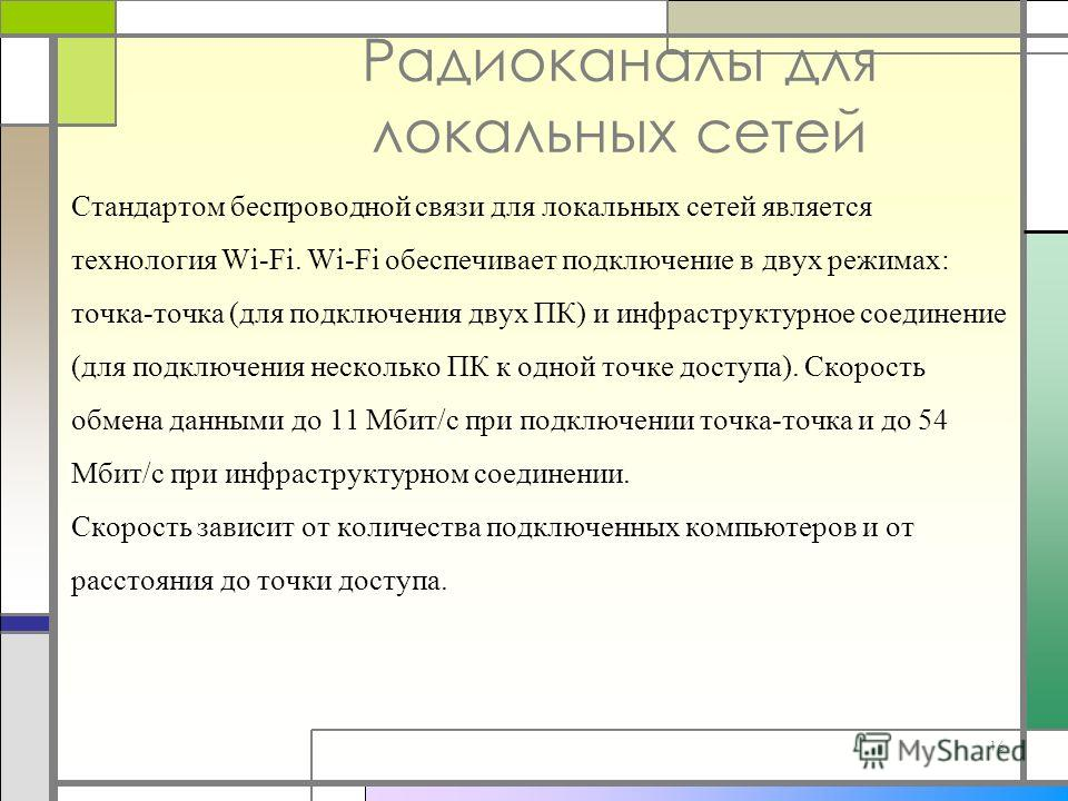 16 Радиоканалы для локальных сетей Стандартом беспроводной связи для локальных сетей является технология Wi-Fi. Wi-Fi обеспечивает подключение в двух режимах: точка-точка (для подключения двух ПК) и инфраструктурное соединение (для подключения нескол