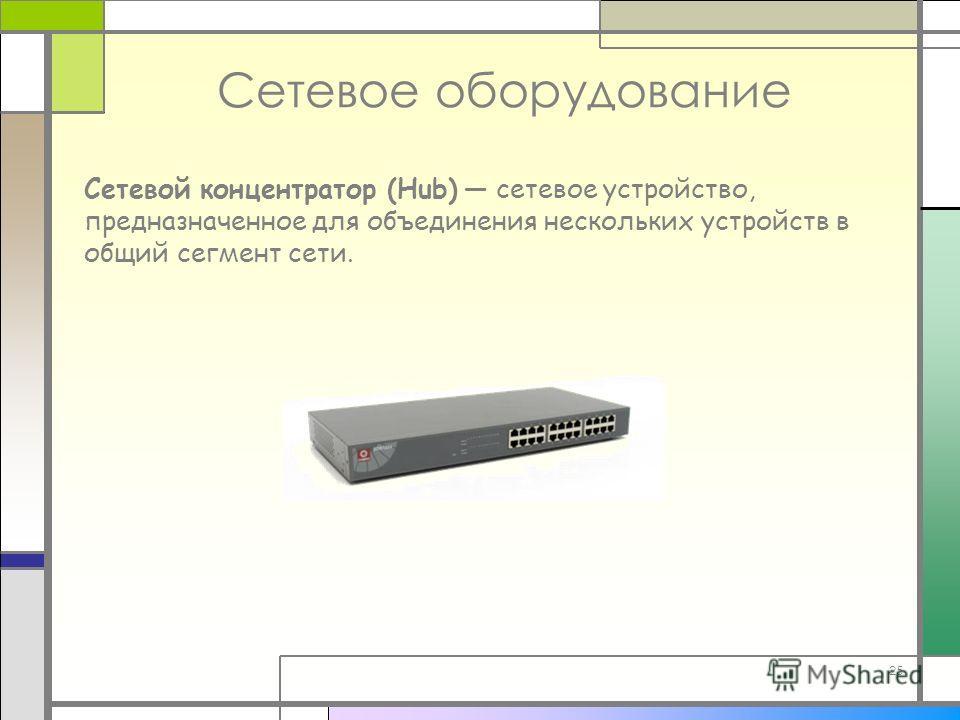 25 Сетевое оборудование Сетевой концентратор (Hub) сетевое устройство, предназначенное для объединения нескольких устройств в общий сегмент сети.