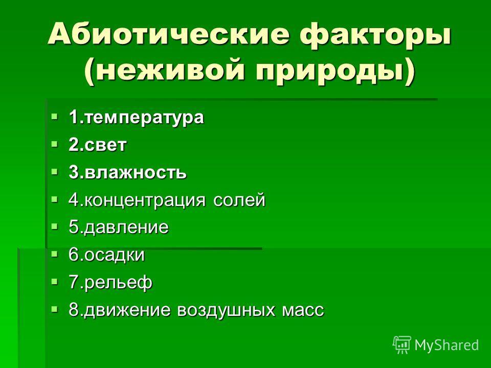 Абиотические факторы (неживой природы) 1.температура 1.температура 2.свет 2.свет 3.влажность 3.влажность 4.концентрация солей 4.концентрация солей 5.давление 5.давление 6.осадки 6.осадки 7.рельеф 7.рельеф 8.движение воздушных масс 8.движение воздушны