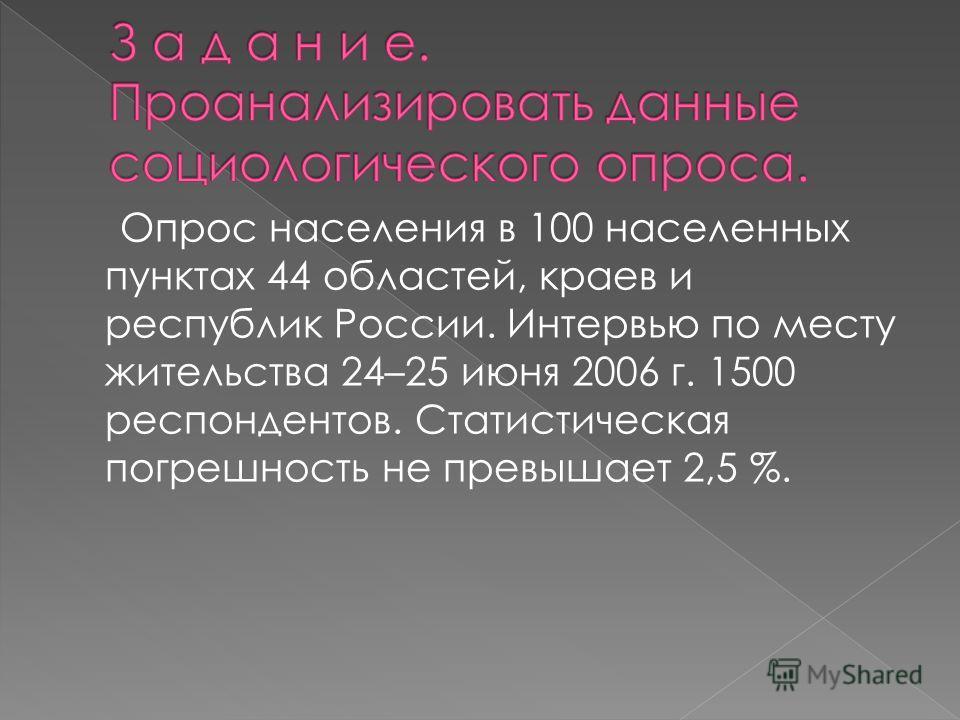 Опрос населения в 100 населенных пунктах 44 областей, краев и республик России. Интервью по месту жительства 24–25 июня 2006 г. 1500 респондентов. Статистическая погрешность не превышает 2,5 %.