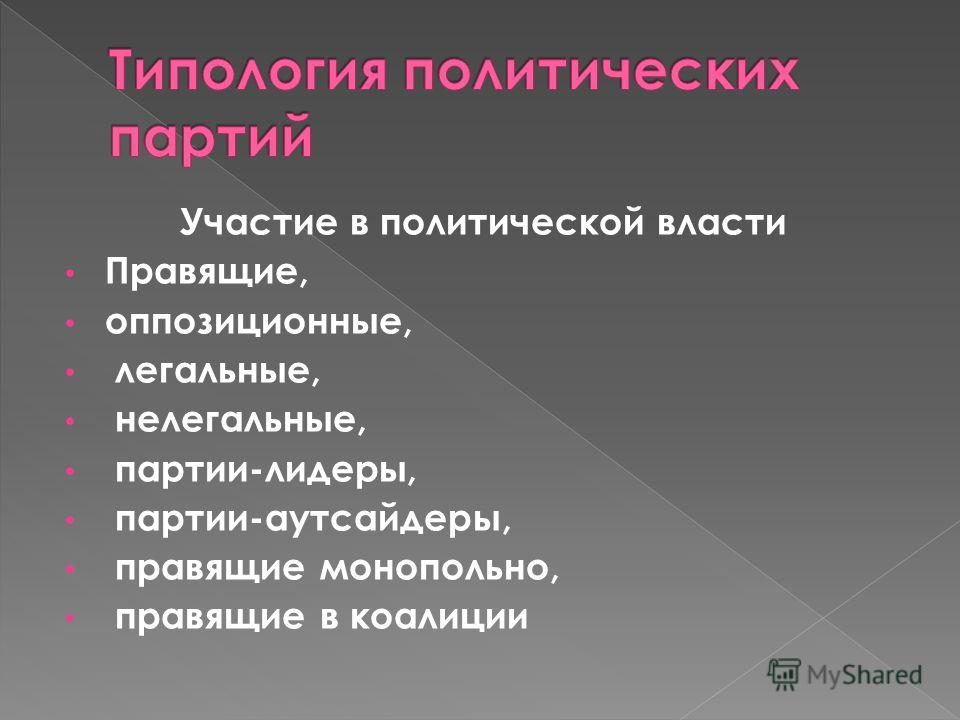Участие в политической власти Правящие, оппозиционные, легальные, нелегальные, партии-лидеры, партии-аутсайдеры, правящие монопольно, правящие в коалиции