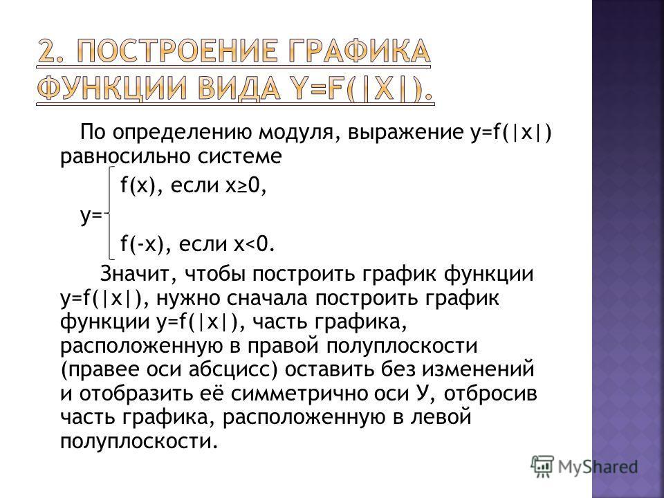 По определению модуля, выражение y=f(|x|) равносильно системе f(x), если х0, у= f(-x), если х