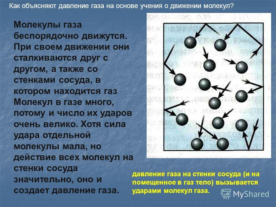 Как объясняют давление газа на основе учения о движении молекул? Молекулы газа беспорядочно движутся. При своем движении они сталкиваются друг с другом, а также со стенками сосуда, в котором находится газ Молекул в газе много, потому и число их ударо