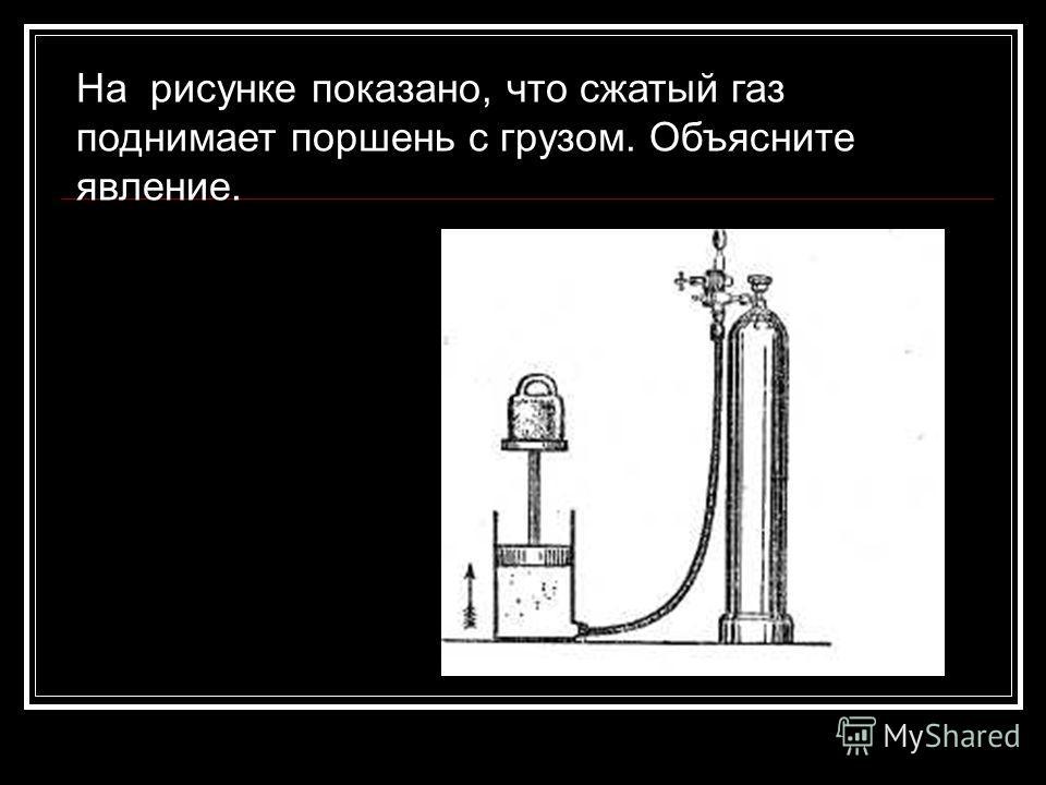 На рисунке показано, что сжатый газ поднимает поршень с грузом. Объясните явление.