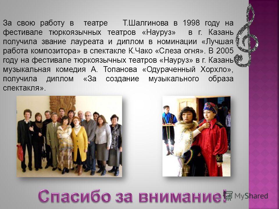 За свою работу в театре Т.Шалгинова в 1998 году на фестивале тюркоязычных театров «Науруз» в г. Казань получила звание лауреата и диплом в номинации «Лучшая работа композитора» в спектакле К.Чако «Слеза огня». В 2005 году на фестивале тюркоязычных те