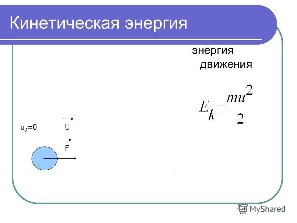 Кинетическая энергия энергия движения u 0 =0 F U