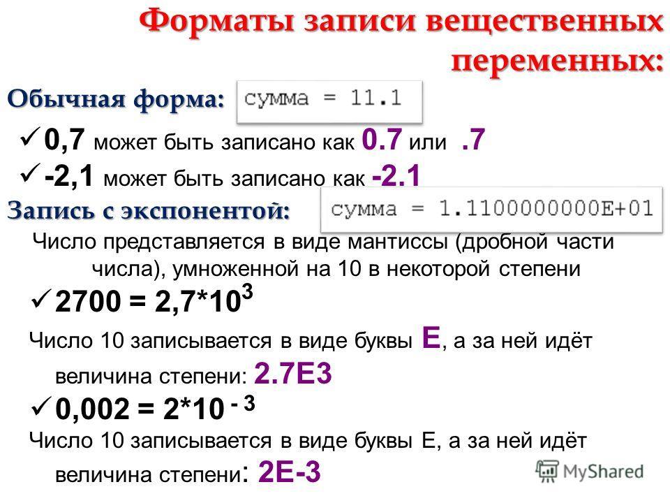 Форматы записи вещественных переменных: Обычная форма: 0,7 может быть записано как 0.7 или.7 -2,1 может быть записано как -2.1 Запись с экспонентой: Число представляется в виде мантиссы (дробной части числа), умноженной на 10 в некоторой степени 2700