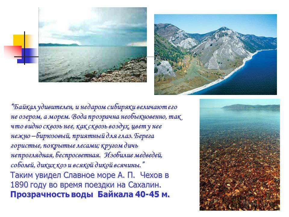 Байкал удивителен, и недаром сибиряки величают его не озером, а морем. Вода прозрачна необыкновенно, так что видно сквозь нее, как сквозь воздух, цвет у нее нежно –бирюзовый, приятный для глаз. Берега гористые, покрытые лесами; кругом дичь непроглядн