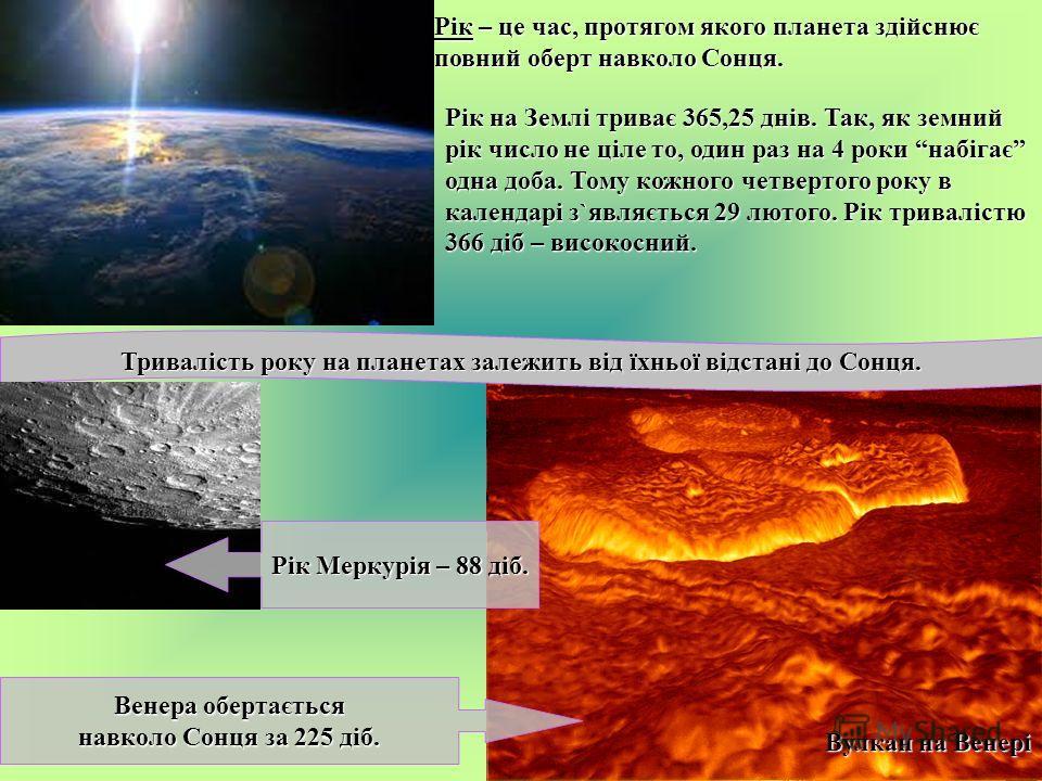 Рік – це час, протягом якого планета здійснює повний оберт навколо Сонця. Рік на Землі триває 365,25 днів. Так, як земний рік число не ціле то, один раз на 4 роки набігає одна доба. Тому кожного четвертого року в календарі з`являється 29 лютого. Рік