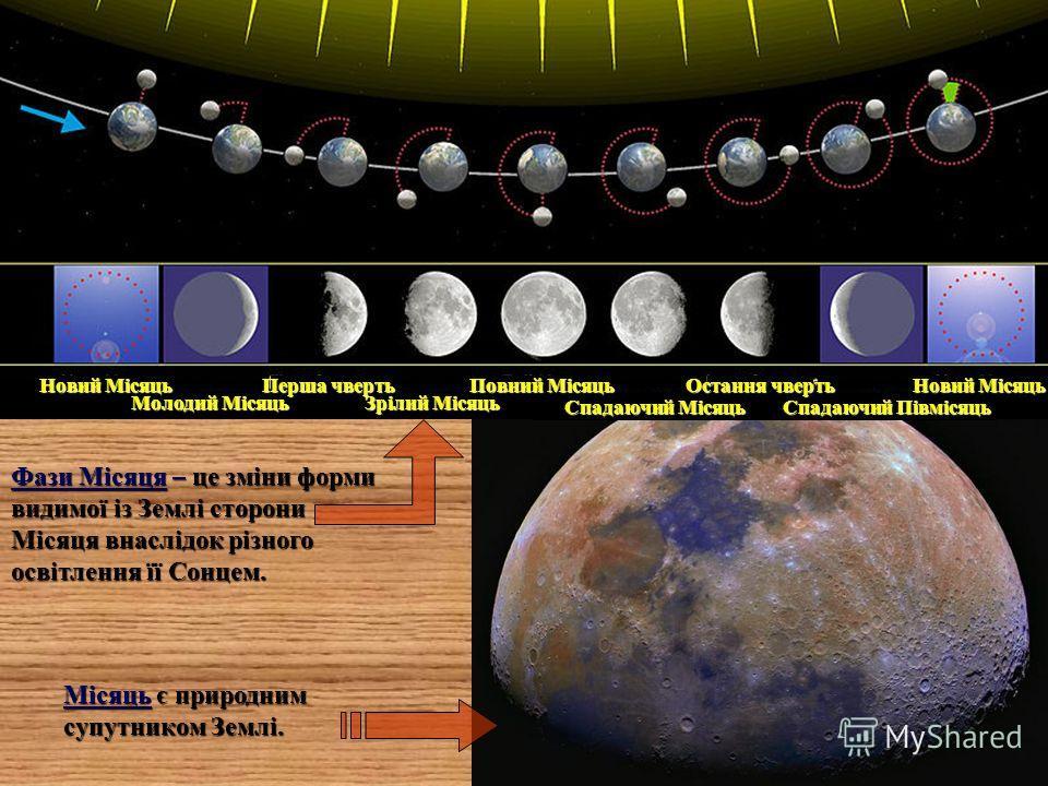 Молодий Місяць Новий Місяць Зрілий Місяць Перша чверть Спадаючий Місяць Повний Місяць Спадаючий Півмісяць Остання чверть Новий Місяць Місяць є природним супутником Землі. Фази Місяця – це зміни форми видимої із Землі сторони Місяця внаслідок різного