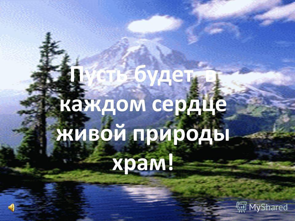 Пусть будет в каждом сердце живой природы храм!