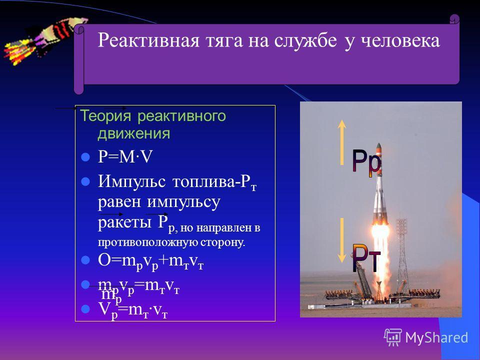 Теория реактивного движения P=M·V Импульс топлива-P т равен импульсу ракеты Р р, но направлен в противоположную сторону. О=m p v p +m т v т m p v p =m т v т V p =m т ·v т m p