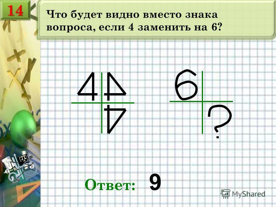 Что будет видно вместо знака вопроса, если 4 заменить на 6? Ответ: 9 1414