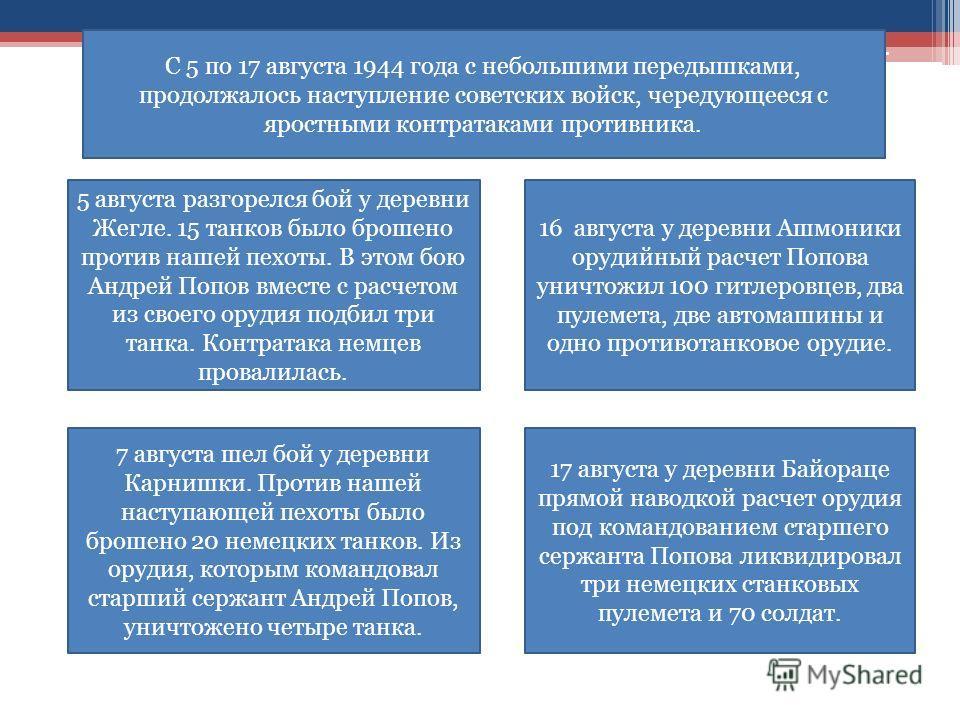 5 августа разгорелся бой у деревни Жегле. 15 танков было брошено против нашей пехоты. В этом бою Андрей Попов вместе с расчетом из своего орудия подбил три танка. Контратака немцев провалилась. 7 августа шел бой у деревни Карнишки. Против нашей насту