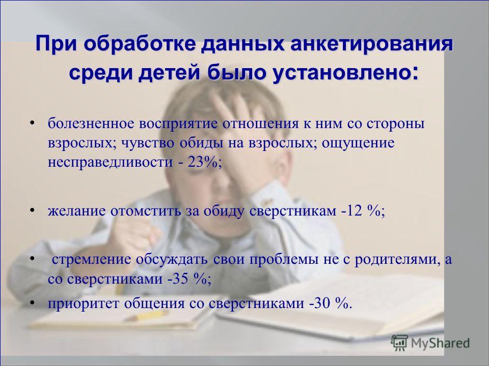 При обработке данных анкетирования среди детей было установлено : болезненное восприятие отношения к ним со стороны взрослых; чувство обиды на взрослых; ощущение несправедливости - 23%; желание отомстить за обиду сверстникам -12 %; стремление обсужда