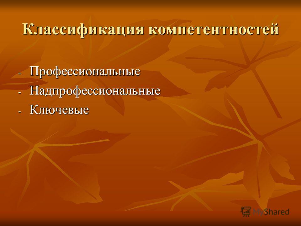 Классификация компетентностей - Профессиональные - Надпрофессиональные - Ключевые
