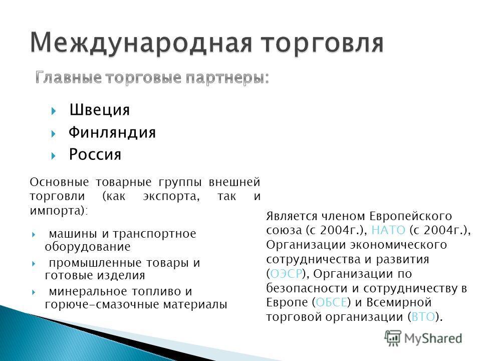 Швеция Финляндия Россия Является членом Европейского союза (с 2004г.), НАТО (с 2004г.), Организации экономического сотрудничества и развития (ОЭСР), Организации по безопасности и сотрудничеству в Европе (ОБСЕ) и Всемирной торговой организации (ВТО).