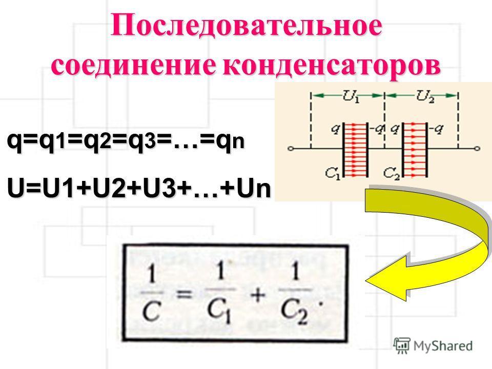 Последовательное соединение конденсаторов q=q 1 =q 2 =q 3 =…=q n U=U1+U2+U3+…+Un