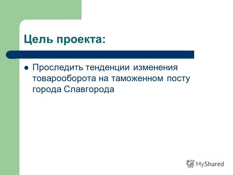 Цель проекта: Проследить тенденции изменения товарооборота на таможенном посту города Славгорода