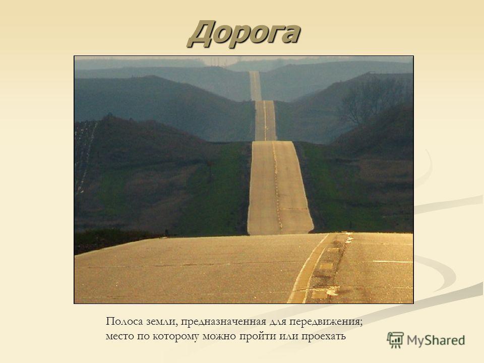 Дорога Полоса земли, предназначенная для передвижения; место по которому можно пройти или проехать