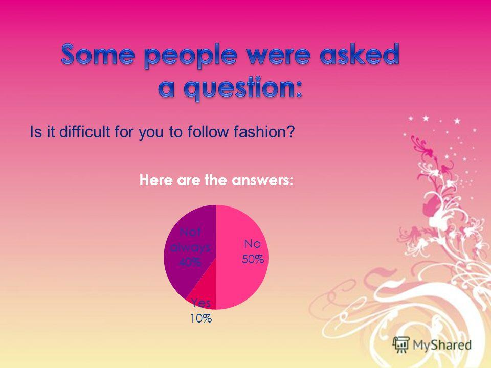 Is it difficult for you to follow fashion?
