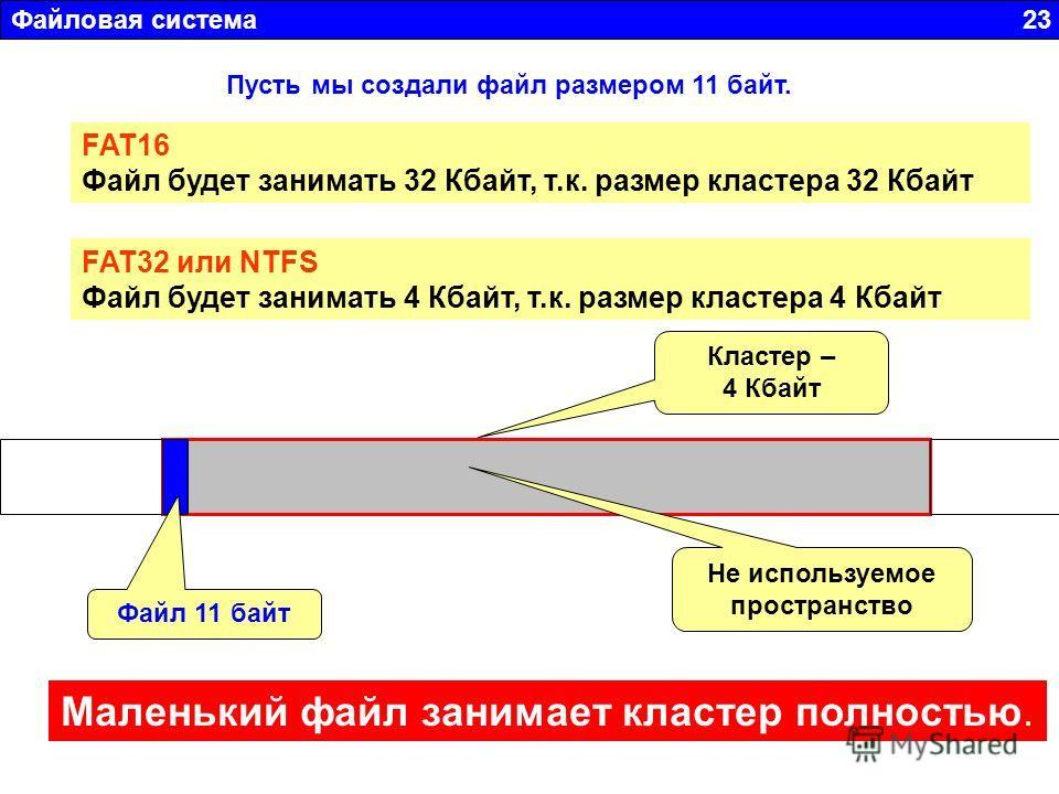 Файловая система 23 Пусть мы создали файл размером 11 байт. FAT16 Файл будет занимать 32 Кбайт, т.к. размер кластера 32 Кбайт FAT32 или NTFS Файл будет занимать 4 Кбайт, т.к. размер кластера 4 Кбайт Не используемое пространство Файл 11 байт Маленький
