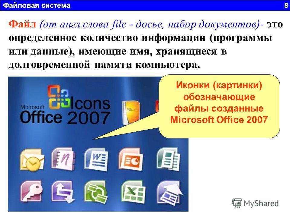 Файловая система 8 Файл (от англ.слова file - досье, набор документов)- это определенное количество информации (программы или данные), имеющие имя, хранящиеся в долговременной памяти компьютера. Иконки (картинки) обозначающие файлы созданные Microsof