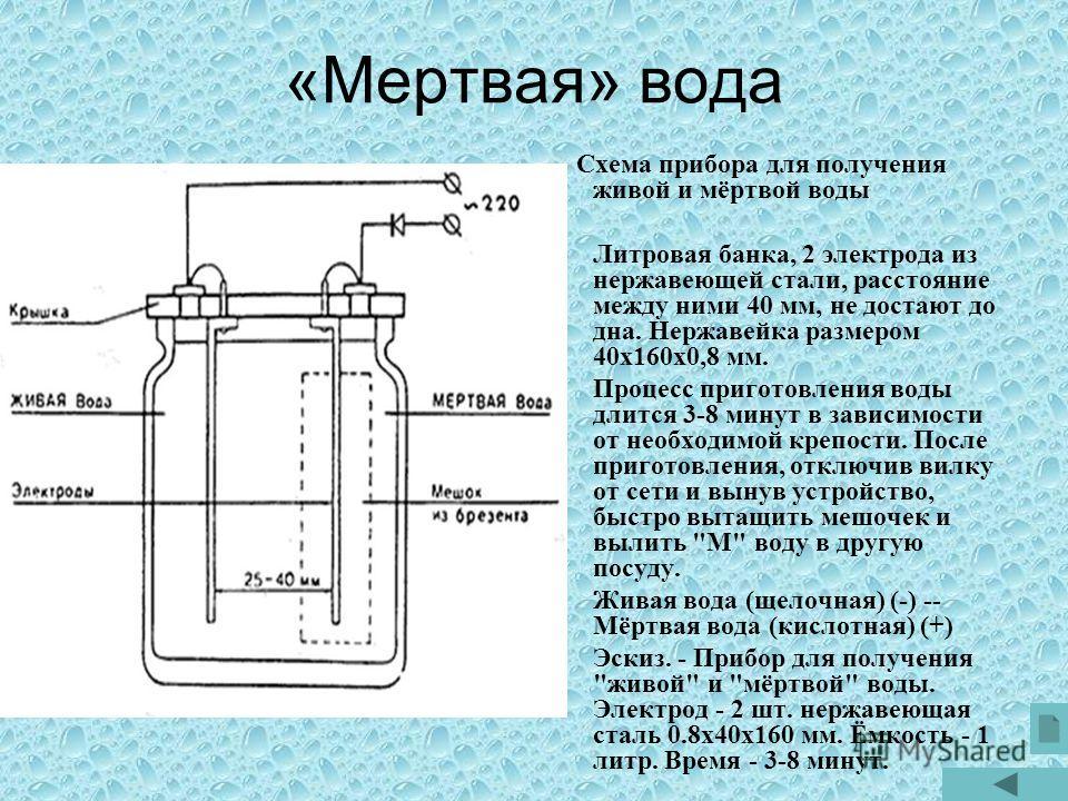 «Мертвая» вода Схема прибора