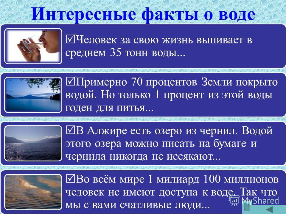 Человек за свою жизнь выпивает в среднем 35 тонн воды... Примерно 70 процентов Земли покрыто водой. Но только 1 процент из этой воды годен для питья... В Алжире есть озеро из чернил. Водой этого озера можно писать на бумаге и чернила никогда не иссяк