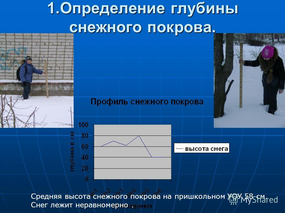 1.Определение глубины снежного покрова. Средняя высота снежного покрова на пришкольном УОУ 58 см. Снег лежит неравномерно.