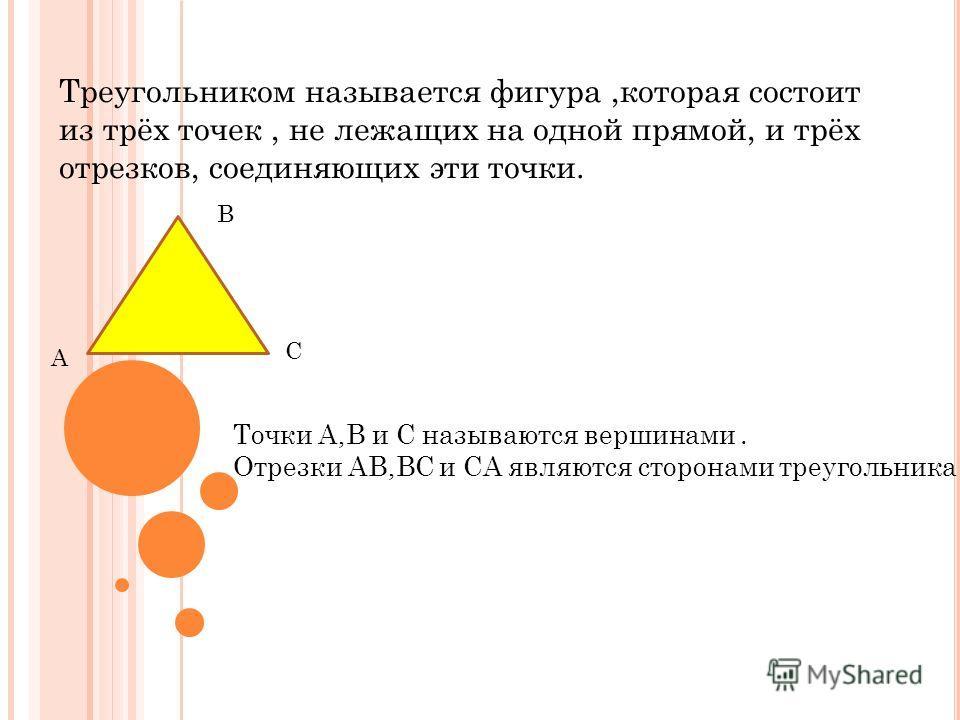 Треугольником называется фигура,которая состоит из трёх точек, не лежащих на одной прямой, и трёх отрезков, соединяющих эти точки. В А С Точки А,В и С называются вершинами. Отрезки АВ,ВС и СА являются сторонами треугольника.