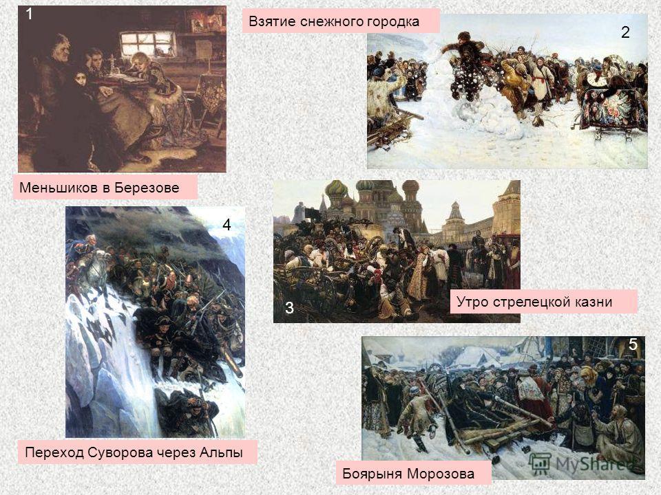3 Переход Суворова через Альпы Утро стрелецкой казни Взятие снежного городка Меньшиков в Березове Боярыня Морозова 1 2 3 4 5