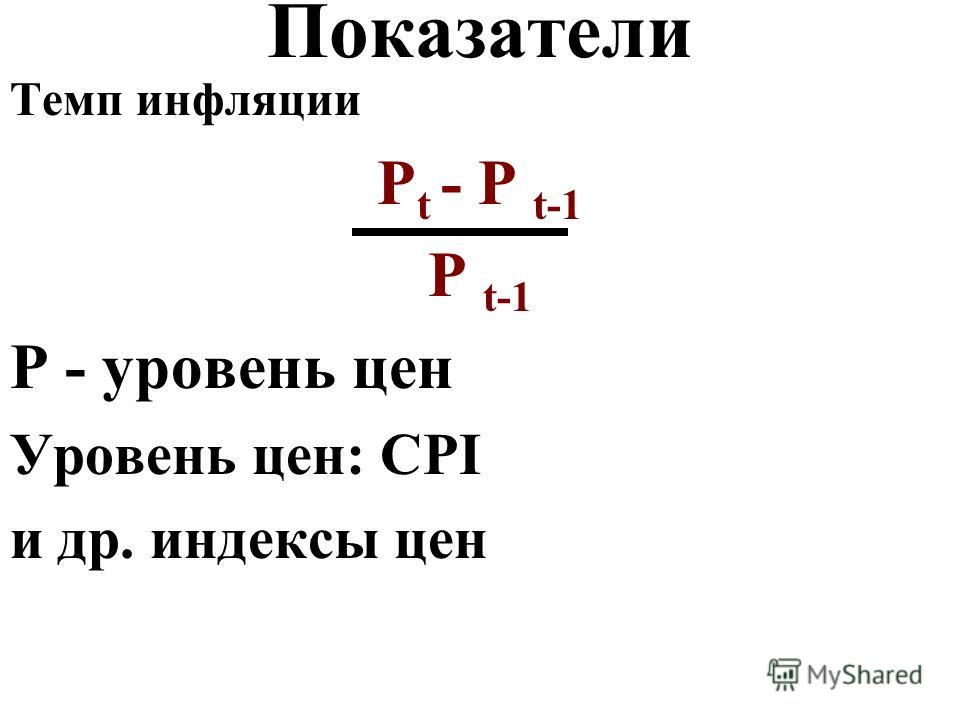 Показатели Темп инфляции P t - P t-1 P t-1 Р - уровень цен Уровень цен: CPI и др. индексы цен