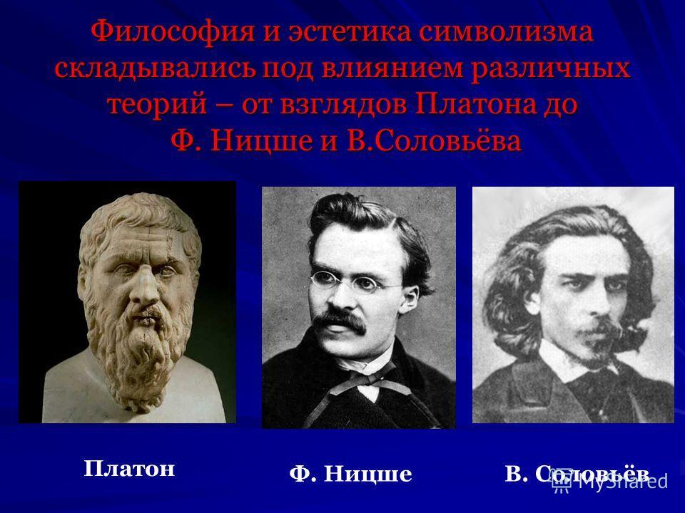 Философия и эстетика символизма складывались под влиянием различных теорий – от взглядов Платона до Ф. Ницше и В.Соловьёва Платон Ф. НицшеВ. Соловьёв